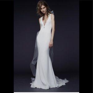 Vera wang silk priscilla V-neck wedding gown